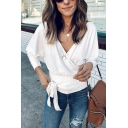 Womens New Trendy Long Sleeve V-Neck Tied Side Plain Surplice Sweater Top