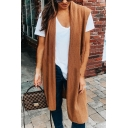 Womens Casual Plain Brown Open Front Knee Length Knitted Vest Cardigan