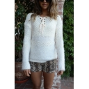 Exclusive Plain White Lace Up Front Eyelash Knit Patch Casual Popcorn Sweater for Women