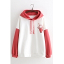 Winter Cute Floral Deer Pattern Colorblock Long Sleeve Oversized Thick Drawstring Hoodie