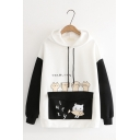 Japanese Letter Cats Eat Fish Printed Colorblock Long Sleeve Flap Pocket Cat Ear Hoodie