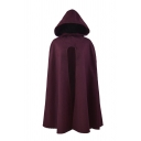 Womens Popular Solid Color Retro Gothic Hooded Cloak Coat