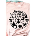 Cute Cartoon WE'RE ALL MAD HERE Letter Printed Short Sleeve Crew Neck Pink Loose T-Shirt