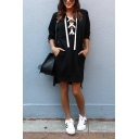 Womens Simple Plain Cross Lace-Up Front Long Sleeve Longline Sweatshirt Midi Dress with Pocket