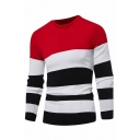 Mens Simple Colorblock Striped Long Sleeve Round Neck Red Pullover Sweater Knitwear