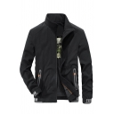 Mens Stylish FREE SPIRIT Car Pattern Long Sleeve Letter Tape Cuff Zip Up Black Casual Track Jacket