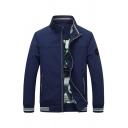 Mens Classic BEST Letter Applique Royal Blue Solid Color Long Sleeve Zip Placket Slim Fit Casual Jacket