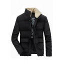 Mens Popular Fur Patched Collar Long Sleeve Hidden Placket Black Casual Down Jacket Coat with Flap Pockets
