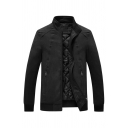 Mens Casual Plain Black High Collar Long Sleeve Zip Up Fitted Suede Quilted Jacket with Zipper Pocket
