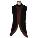 Mens Vintage Renaissance Color Block Sleeveless Tied Collar Side Lace Up Asymmetric Tribal Suit Vest Top