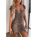 Womens Classic Leopard Printed Sweetheart Neck Backless Drawstring Ruched Front Mini Bodycon Dress