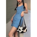 Womens Blue Chic Heart Leopard Printed Scoop Neck Sexy Night Club Mini Cami Dress
