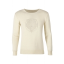 Mens Simple Wolf Embroidery Pattern Long Sleeve Plain Beige Knitted Pullover Sweater