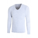 Mens Plain Casual V-Neck Eyelash Knit Long Sleeve Slim Fit Soft Pullover Sweater