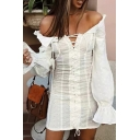 Summer Popular Solid Color Bell Long Sleeve Off Shoulder Lace Up Front Retro Mini Party Dress