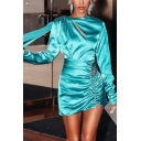 Unique Rhinestone Epaulet Ribbon Embellished Long Sleeve Cutout Plain Turquoise Satin Mini Ruched Dress for Party