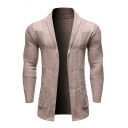 Mens Solid Color Geo Printed Long Sleeve Shawl Collar Knitted Cardigan Coat with Pocket