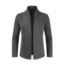 Mens Leisure Solid Color Long Sleeve Open Front Simple Knitted Cardigan Coat