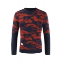 Mens New Stylish Red Camouflage Printed Long Sleeve Slim Knitted Pullover Sweater