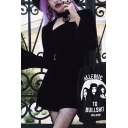 Womens Chic Plain Black Five-Pointed Star Embellished Flared Long Sleeve Mini Velvet Edgy Dress