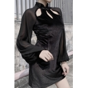 Ladies Vintage Frog Button Hollow Out Front Balloon Long Sleeve Black Mini Velvet Cheongsam Dress