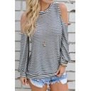 Black Stripes Print Cold Shoulder Long Sleeve Round Neck Leisure T-Shirt Top