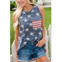 Womens Leisure Independence Day Flag Stars Printed Round Neck Sleeveless Blue Loose Tank Top