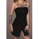 Womens Sexy Plain Black Button Spaghetti Straps Down Mini Fitted Cami Dress for Party