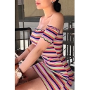Womens Classic Pink Stripe Printed Lettuce Trim Off Shoulder Mini Fitted Club Dress