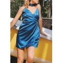 Womens Casual Plain Blue Silk V-Neck Side Tied Sleeveless Mini Wrap Cami Dress