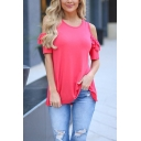Womens Trendy Plain Rose Red Tiered Frill Cold Shoulder Short Sleeve Round Neck Casual T-Shirt