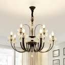 12/15 Heads Candle Ceiling Hanging Light Traditional Living Room Lighting in Black with Crystal Drop