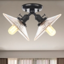 Flared Shade Restaurant Ceiling Lighting Clear Ribbed Glass 2 Lights Industrial Style Semi Flush Light Fixture