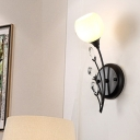 1/2 Lights Bedroom Wall Mounted Lamp Vintage Black Sconce Light with Bubble White Glass Shade