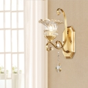 Brass Floral Shape Sconce Light Modern 1/2 Heads Clear Glass Wall Mounted Light with Crystal Accent