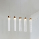 Tube Pendant Ceiling Light Postmodern Clear Prism Glass 1 Light Dining Room Hanging Lamp