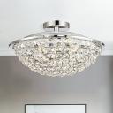 Crystal Bead Bowl Semi Flushmount 4 Lights Modern Luxury Semi Flush Lighting in Polished Chrome