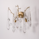 2 Lights Branch Wall Sconce with Clear Crystal Drop Modern Wall Mounted Light in Brass