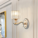 1/2 Lights Cylinder Sconce Light with Clear Crystal Shade Modern Flush Mount Wall Sconce in Silver Finish