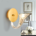Curved Arm Clear Glass Sconce Light Fixture Contemporary 1 Light Wall Sconce in Gold Finish for Corridor