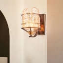 Rippled Glass Wall Light Fixture with Metal Cage Contemporary 1 Head Black Finish Flush Mount Wall Sconce