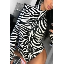 Women's Cool Black Long Sleeve Mock Neck Zebra Stripe Fit Bodysuit