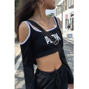 Cool Street Black Long Sleeve Cold Shoulder PUNK Letter Contrast Piped Crop T Shirt for Women