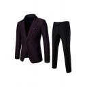 Solid Color Dark Purple Slim Fit Double Button Formal Blazer with Pants Two Piece Men's Dress Suit