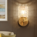 Cylindrical Bedroom Wall Sconce Clear Dimpled Glass 1 Bulb Modernist Style Wall Lighting Fixture in Gold
