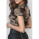 Cool Sport Short Sleeveless Crew Neck Camo Printed Cut Out Back Slim Fit Crop Tee for Girls