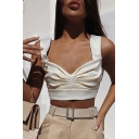 Trendy Women's Sleeveless Sweetheart Neck Ruched Plain Fitted Crop Tank Top