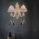 Modernism Lotus Wall Light White Glass 1/2 Heads Living Room Sconce Light with Crystal Drip Decoration