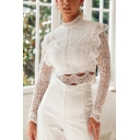 Elegant Long Sleeve Mock Neck Floral Embroidered Scalloped Sheer Lace Zip Back Slim Fit White Crop Top for Girls