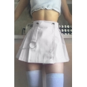 Girls' Cute Plain High Waisted Button Pin Chain Embellished Flared Pleated A-Line Mini Skirt